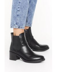 """Nasty Gal Black """"nothing Toe Lose Faux Leather Chelsea Boots"""""""