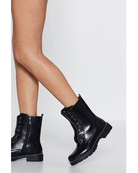 """Nasty Gal Black """"stand On The Rock Studded Hiker Boot"""""""