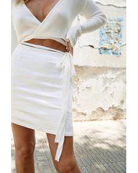Nasty Gal White Trim Me Over Satin Mini Skirt
