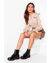 Nasty Gal Black Wanna Make You Shine Lace-up Boots