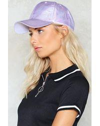 Nasty Gal | Purple Holographic Baseball Cap Holographic Baseball Cap | Lyst