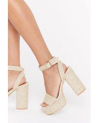 "Nasty Gal Natural ""step Right Up Woven Platform Heels"""