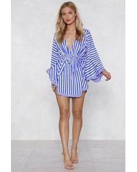 Nasty Gal - Blue Serves You Stripe Mini Dress - Lyst