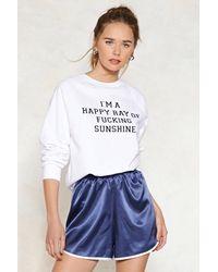 Nasty Gal - White Ray Of Fucking Sunshine Graphic Sweatshirt - Lyst