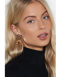 Nasty Gal - Metallic You're Going Down Hammered Earrings - Lyst