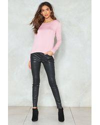 Nasty Gal Pink Twist Back Long Sleeve T-shirt