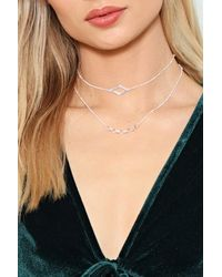 Nasty Gal - Metallic Let's Make This Crystal Clear Diamante Necklace - Lyst