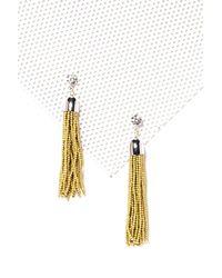 Nasty Gal - Metallic Gold Beaded Tassel Earrings Gold Beaded Tassel Earrings - Lyst