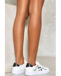 Nasty Gal Black Floral Embroidered Tennis Shoes