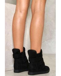 Nasty Gal Black Strap Minded Wedge Sneaker