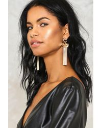 Nasty Gal - Metallic In Flight Chain Feather Earrings In Flight Chain Feather Earrings - Lyst