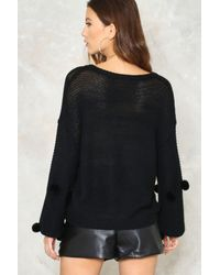 Nasty Gal | Black Pom Before The Storm Embellished Sweater | Lyst