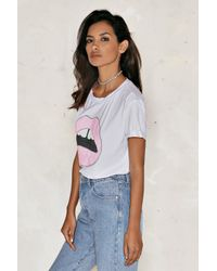 Nasty Gal - White Give 'em Lip Sequin Tee - Lyst