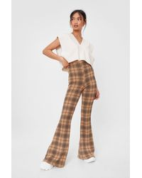 Nasty Gal Natural Petite Check Fitted Flares