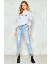 Nasty Gal - Gray Rumors Relaxed Sweatshirt - Lyst