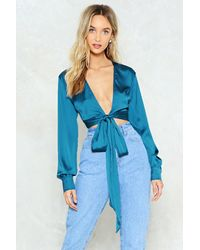 Nasty Gal Blue Tied Trying Satin Blouse