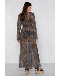 Nasty Gal - Brown Cause A Purr Leopard Cover-up - Lyst