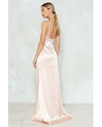 Nasty Gal Natural Satin Wrap Maxi Dress