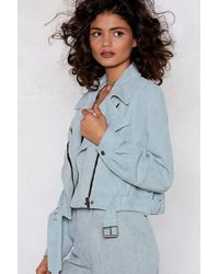 "Nasty Gal - Blue ""play The Right Cords Moto Jacket"" - Lyst"