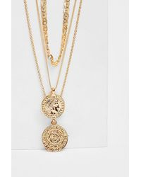 Triple Layered Coin Chain Necklace Nasty Gal en coloris Metallic