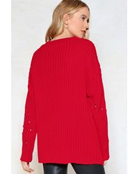 "Nasty Gal Red ""prove Knit Distressed Sweater"""