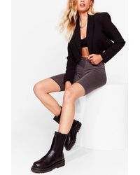 Nasty Gal Black Kick Ass Cleated Faux Leather Boots