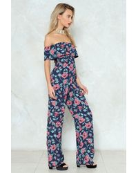 Nasty Gal Blue Grow After Your Dreams Floral Jumpsuit