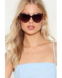 Nasty Gal Brown Tortoise Shell Cat Eye Gold Trim Sunglasses