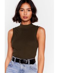 """Nasty Gal Multicolor """"what The Neck Ribbed Crop Top"""""""