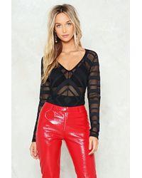 Nasty Gal Black Chevron Stripe Mesh Plunge Bodysuit Chevron Stripe Mesh Plunge Bodysuit
