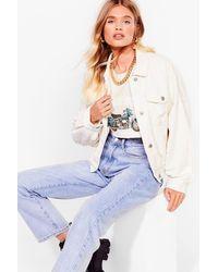 Nasty Gal White Break The Record-uroy Oversized Jacket