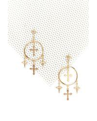 Nasty Gal - Metallic Hanging Crosses Hoop Earring - Lyst