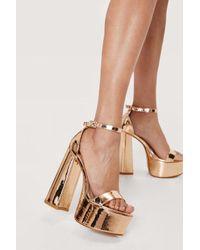 Nasty Gal Multicolor Metallic Open Toe Platform Heeled Sandals