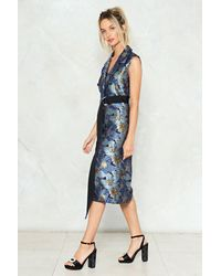 Nasty Gal Blue Floral Brocade Wrap Dress Floral Brocade Wrap Dress