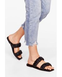 Nasty Gal Black Faux Leather Ruched Strap Sandals