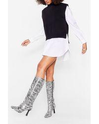 Nasty Gal White Zebra Knee High Heeled Boots