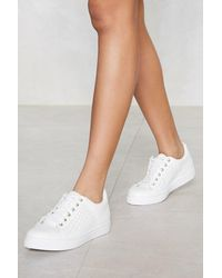 "Nasty Gal White ""get Some Space Laser Cut Sneaker"""