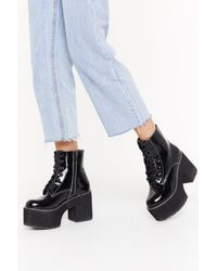 "Nasty Gal Black ""go Big Lace-up Platform Boots"""