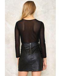 Nasty Gal Black Triple Axel Embellished Mesh Bodysuit