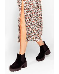 Nasty Gal Black Walking Over Faux Suede Chelsea Boots