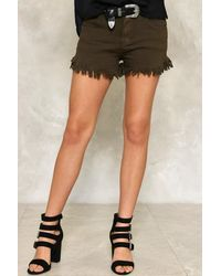 Nasty Gal - Black Fray With Me Denim Shorts - Lyst
