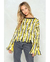 """Nasty Gal Yellow """"a-frayed So Shaggy Sweater"""""""