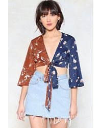 Nasty Gal - Blue You Gotta Dark Side Tie Front Top - Lyst