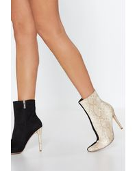 """Nasty Gal Black """"watch Your Two-tone Snake Boot"""""""