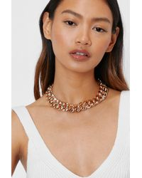 Chunky Curb Chain Necklace Nasty Gal en coloris Metallic