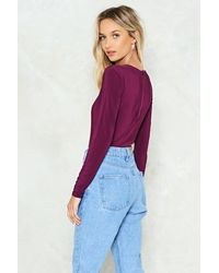 Nasty Gal Purple Open Minded Bodysuit