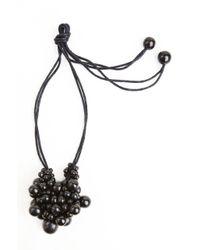 Natori Black Josie Horn Cluster Long Necklace