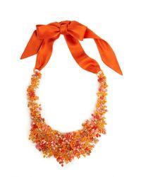 Natori   Orange Josie Beaded Bib Necklace - Cayenne   Lyst