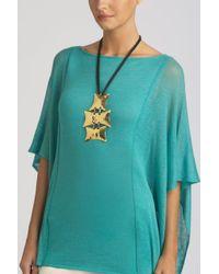 Natori - Metallic Brass Buffed Necklace - Lyst