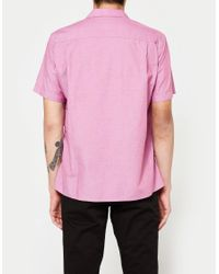 Gitman Brothers Vintage Pink Iridescent Chambray Ss Camp Shirt for men